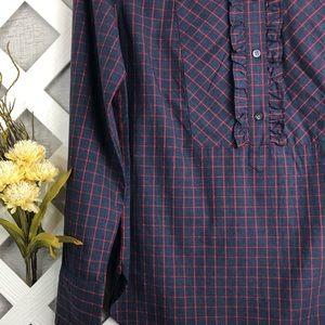 J.Crew Ruffle Bib Popover Purple Tunic Shirt
